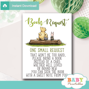 gender reveal vintage winnie the pooh book request cards cute invitation inserts classic