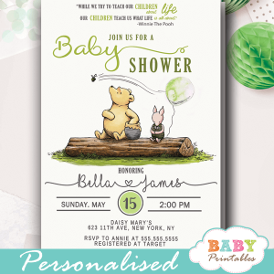 vintage winnie the pooh baby shower invitations gender neutral green