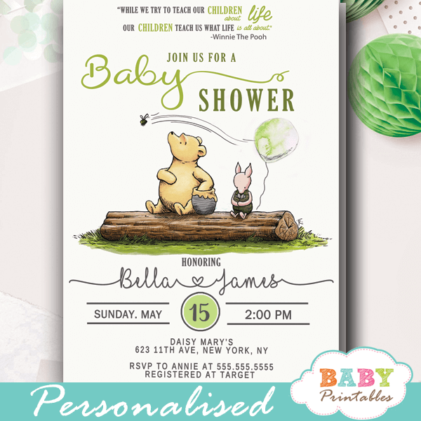 picture relating to Printable Winnie the Pooh Baby Shower Invitations named Gender Impartial Winnie The Pooh Boy or girl Shower Invitations D291