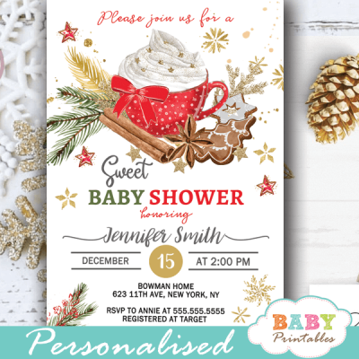christmas baby shower invitations sweet gender neutral holiday winter theme