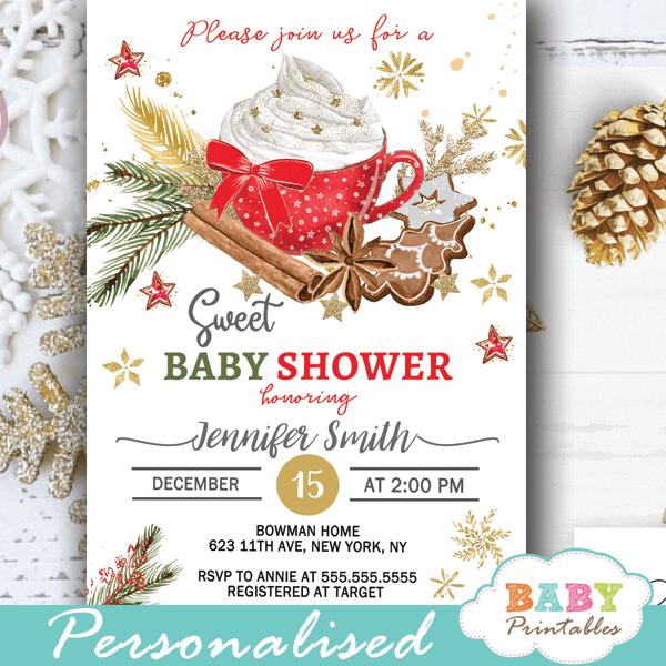 Christmas Baby Shower Invitations Winter Holidays D419