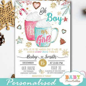 hot cocoa holiday christmas gender reveal invitations winter theme he or she