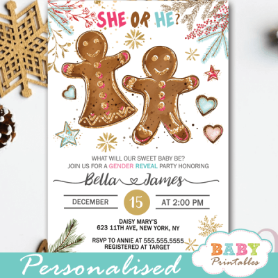 christmas gingerbread gender reveal invitations winter holiday theme he or she