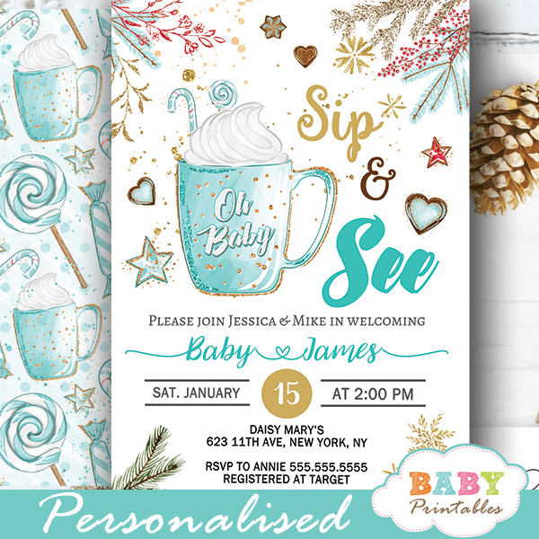 Hot Cocoa Christmas Sip And See Invitations Boy D419 Baby Printables