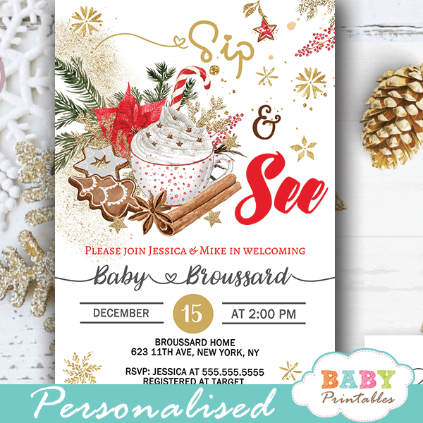 Gender Neutral Christmas Sip And See Invitations D419 Baby