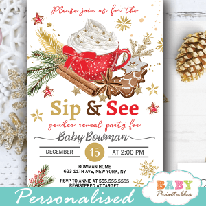 christmas sip and see gender reveal party invitations