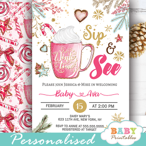 christmas sip and see invitations girl winter holidays hot cocoa baby shower ideas