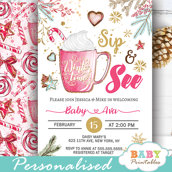 Hot Cocoa Christmas Sip And See Invitations Girl D419 Baby