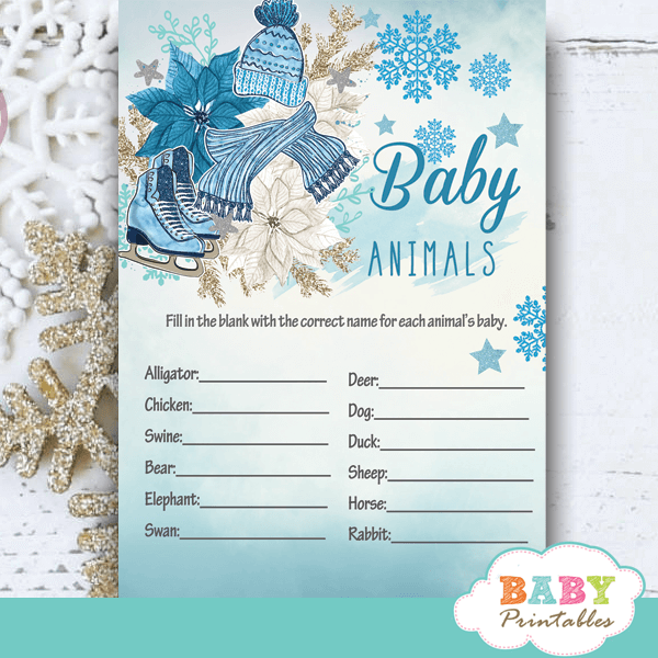 winter wonderland baby it's cold outside baby shower games winter wonderland blue snowflakes boy