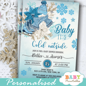 blue boy baby it's cold outside winter wonderland invitations