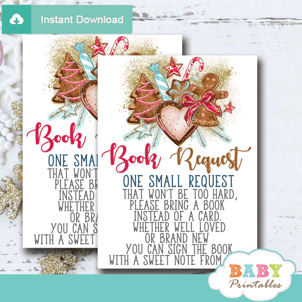 gingerbread cookies Christmas book request cards winter wonderland invitation inserts girl holiday
