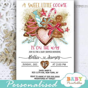 girl gingerbread cookies christmas baby shower invites holiday winter theme