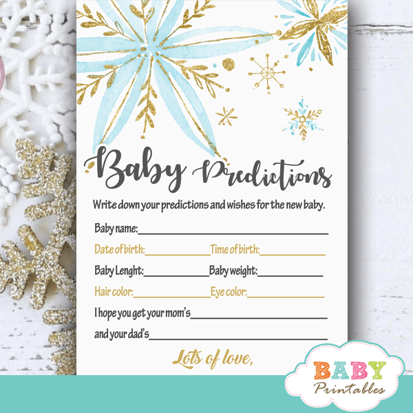 snowflake baby shower games winter wonderland blue gold winter theme watercolor boy
