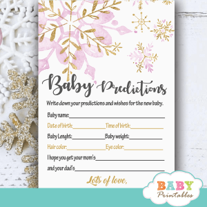 snowflake baby shower games winter wonderland pink gold winter theme watercolor girl