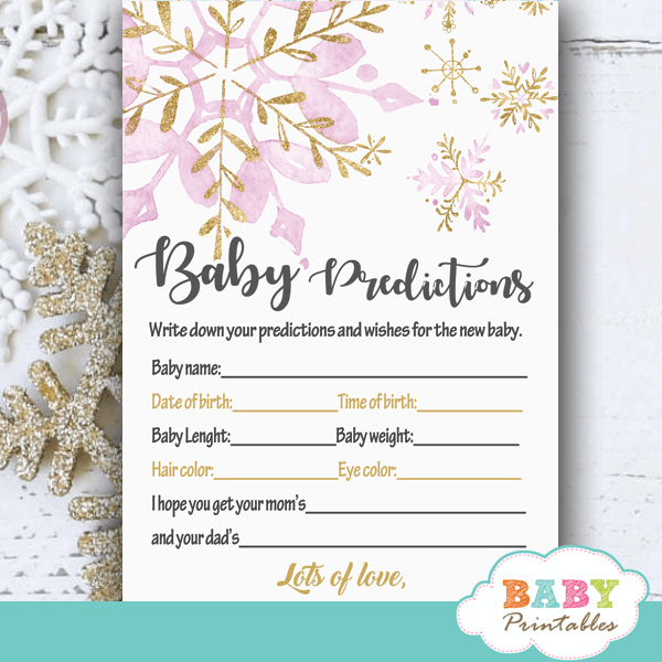 Pink Gold Snowflake Baby Shower Games D408 Baby Printables