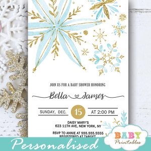baby blue and gold snowflake baby shower invites boy winter theme