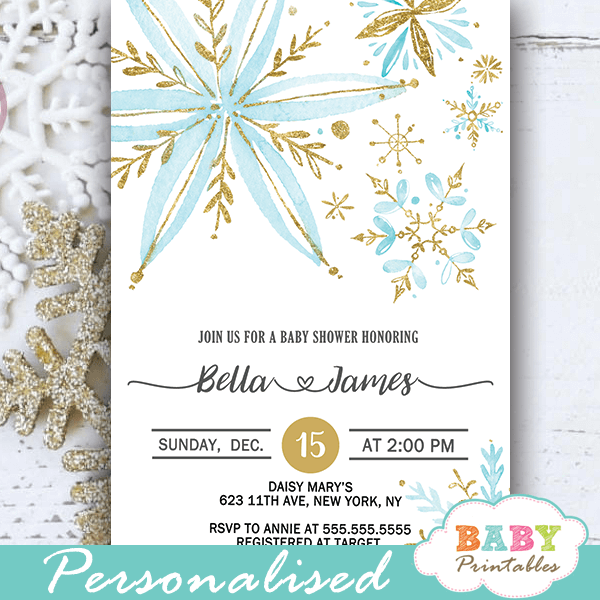 blue gold snowflake baby shower invites d407 baby printables