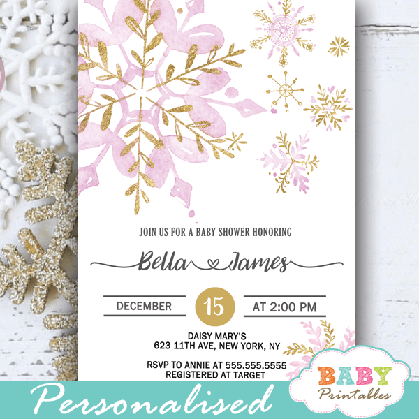 pink and gold snowflake baby shower invites winter theme