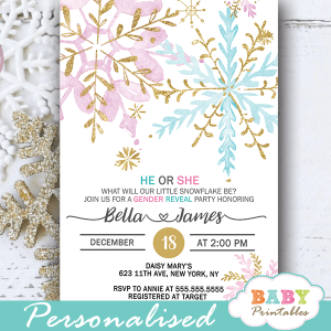 snowflake gender reveal invitations pink blue gold boy or girl winter theme