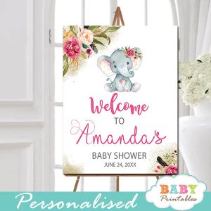 little peanut elephant baby shower welcome sign yard outside ideas