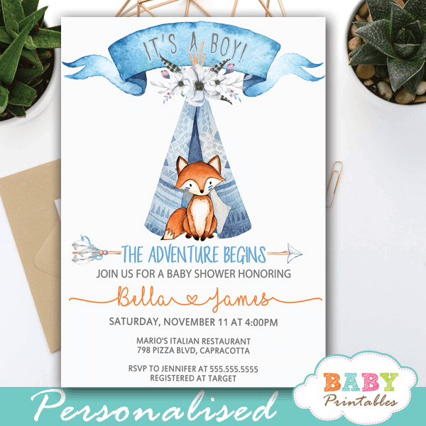 woodland theme tribal fox baby shower invitations blue ideas boy boho