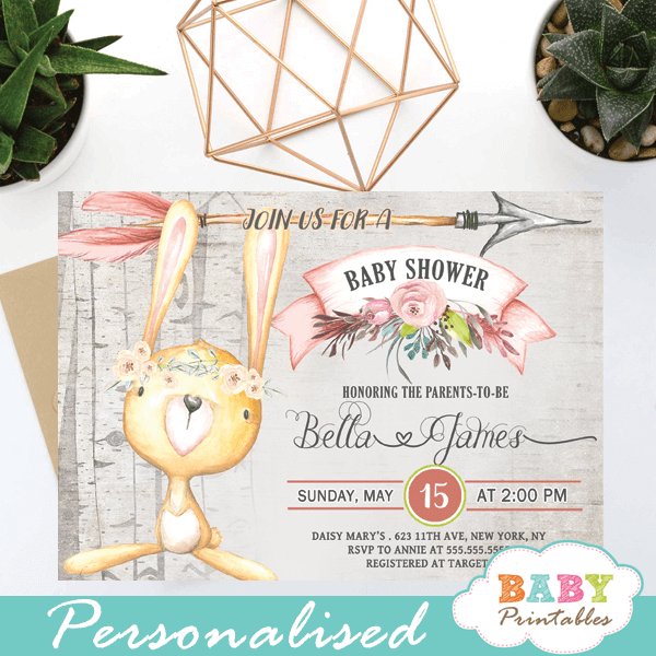 chic rustic woodland bunny baby shower invites girl rabbit ideas cute