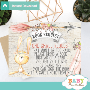 rustic woodland bunny book request cards books for baby inserts girl