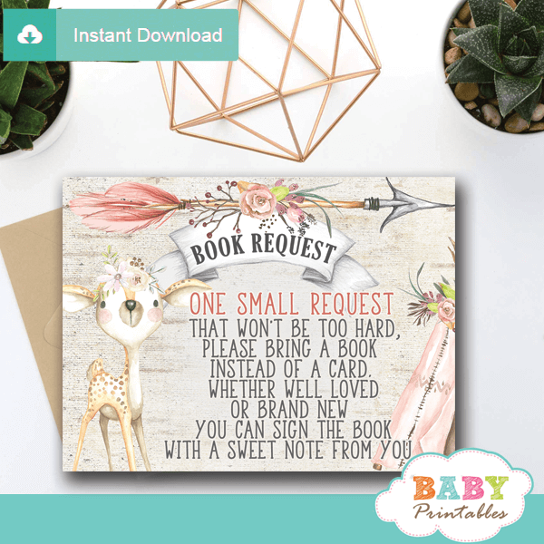 rustic woodland deer books for baby invitations inserts girl shower