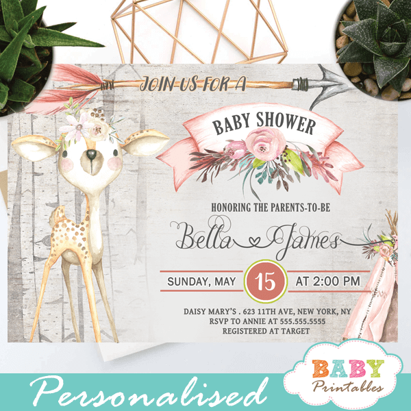 woodland deer baby shower invitations girl rustic wood theme
