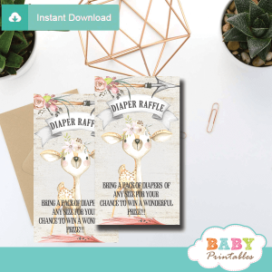 rustic woodland deer diaper raffle tickets girl shower game prizes