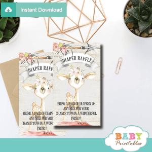 rustic woodland deer diaper raffle tickets girl shower game prizes
