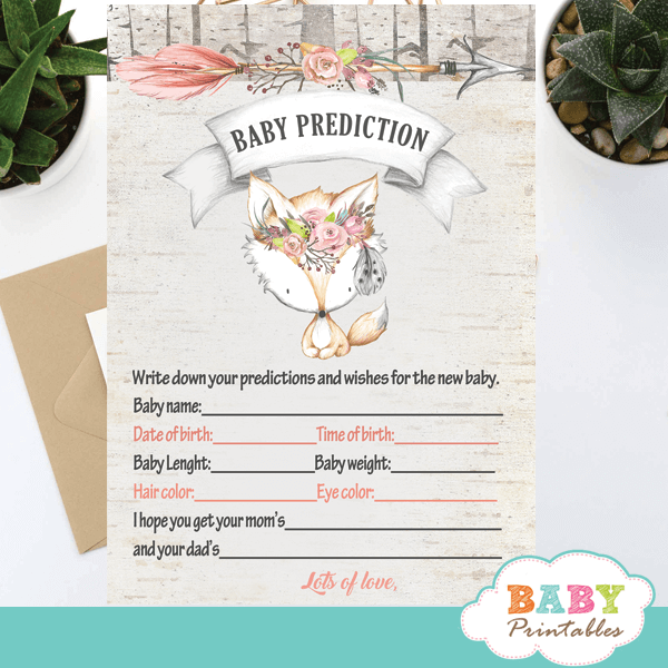 rustic woodland fox baby shower games floral girl pink gray boho