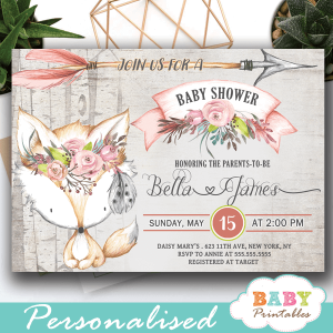 rustic woodland fox baby shower invites girl pink gray