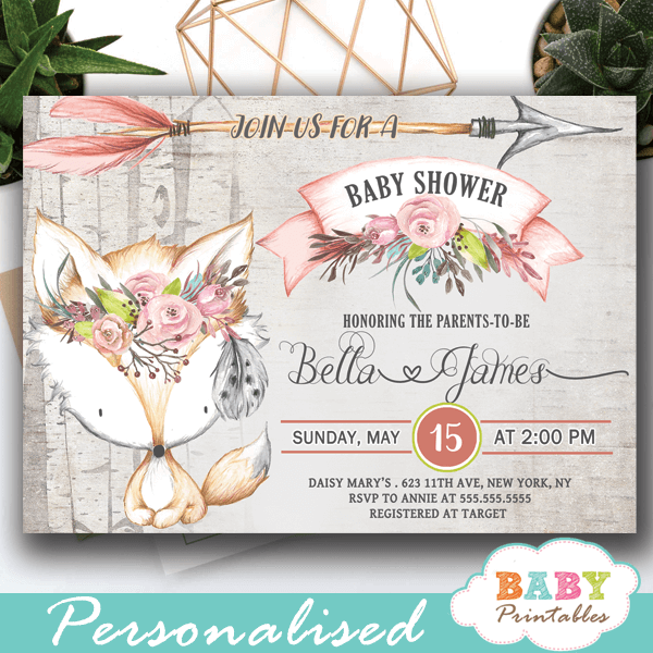 Rustic Woodland Fox Baby Shower Invites Girl D244 Baby