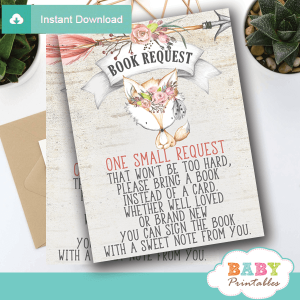 rustic woodland fox invitation inserts books for baby girl shower