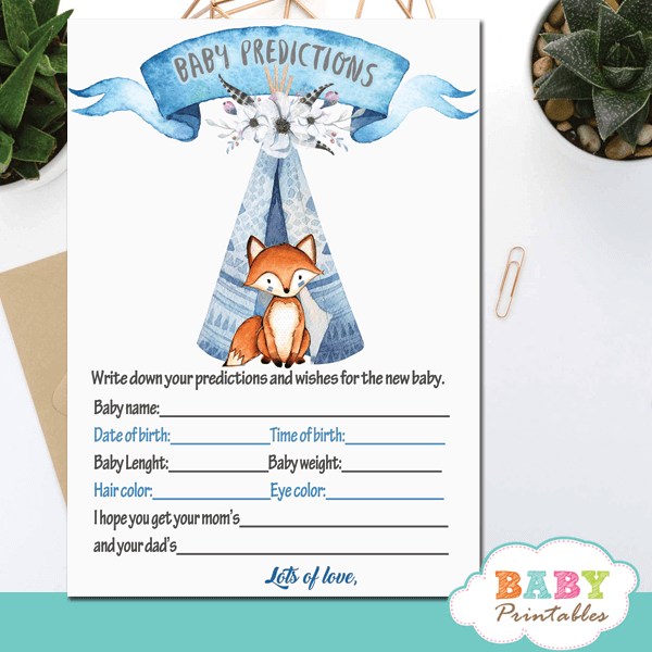woodland theme tribal fox baby shower games ideas boy