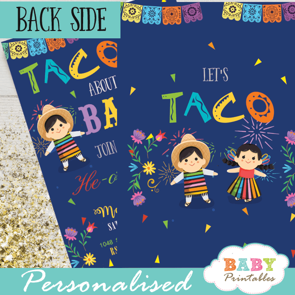 invitación Fiesta Mexicana Baby Shower. gender reveal he or she Señororseñorita theme taco bout baby