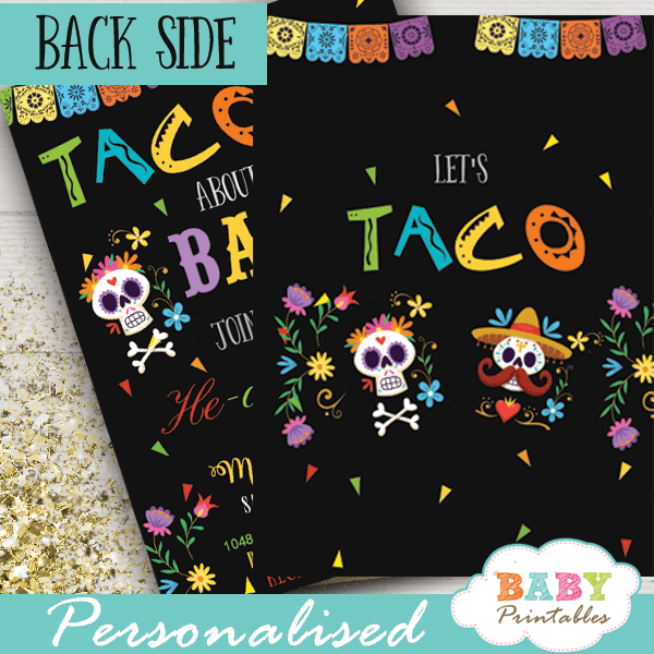 invitación Fiesta Mexicana Baby Shower. gender reveal he or she  Señor or señorita theme taco bout baby calaveras