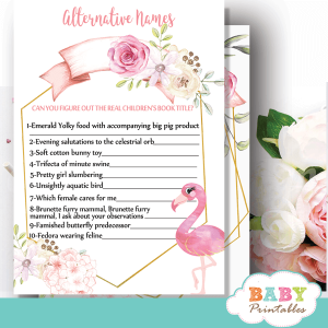 floral pink flamingo baby shower games summer tropical theme