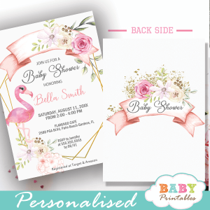 flamingo baby shower invitations pink flowers gold geometric summer theme