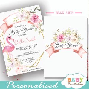 flamingo baby shower invitations pink flowers gold geometric summer theme
