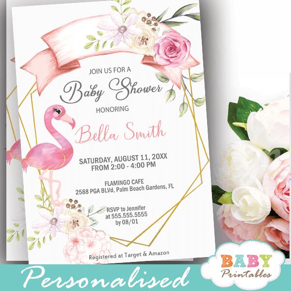 flamingo baby shower invites girl summer flowers pink theme