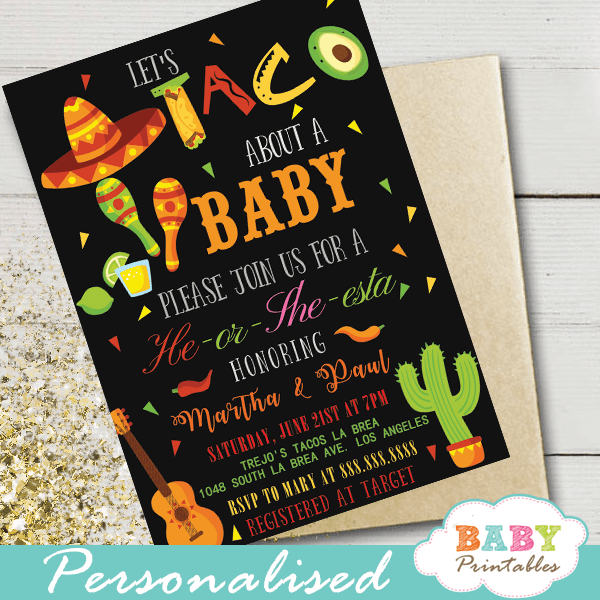 mexican fiesta gender reveal invitations taco about baby he or she theme