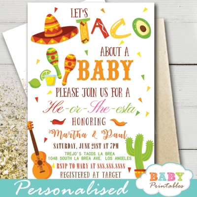 mexican fiest gender reveal invitations taco about a baby love he or she theme