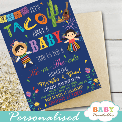 fiesta gender reveal invitations Mexican rag dolls taco about a baby
