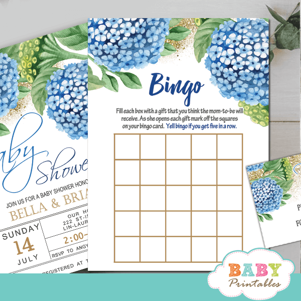 blye hydrangea floral baby shower games gold sprinkle greenery spring theme fun boy