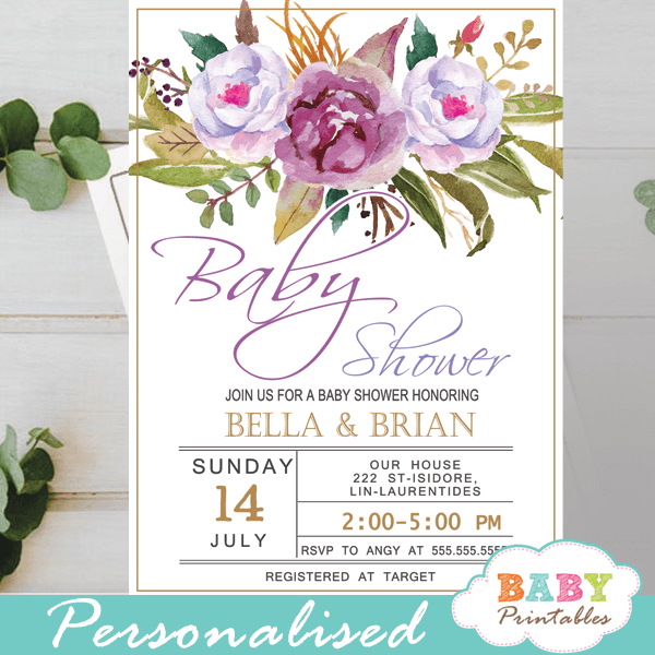 purple peonies floral baby shower invitations spring flowers greenery lavender it's a girl