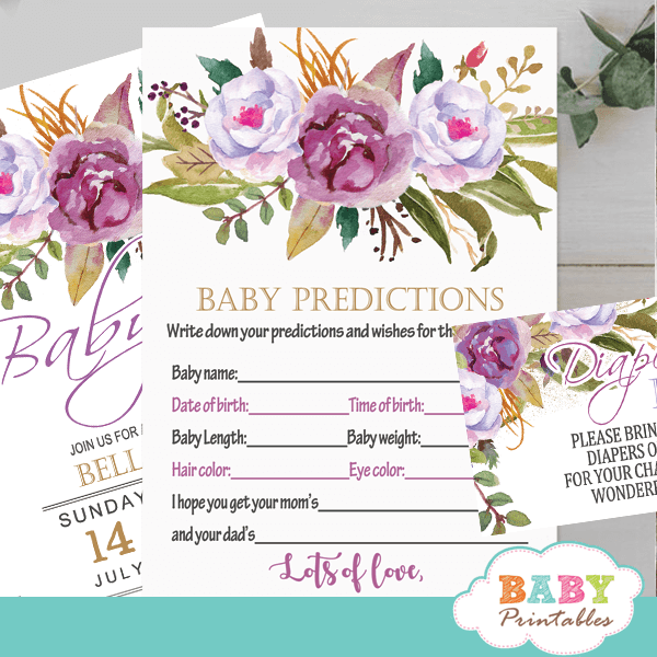 watercolor purple peony floral baby shower games spring garden theme baby predictions