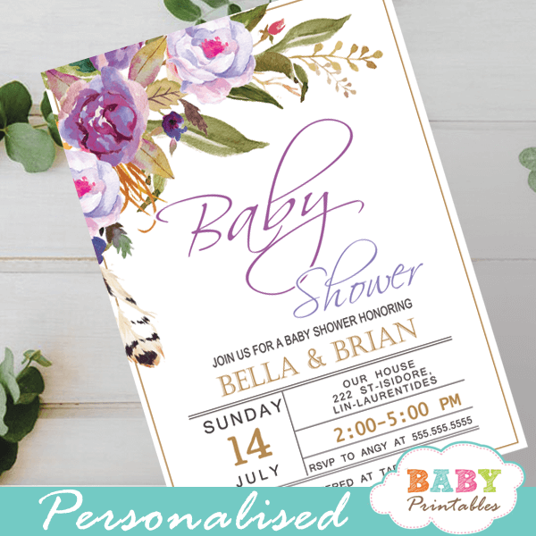 purple peonies garden theme baby shower invitations spring flowers greenery lavender it's a girl