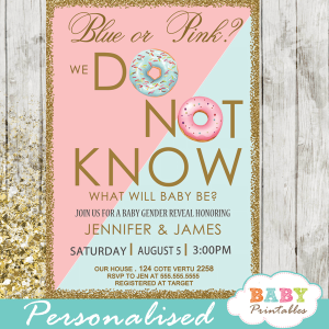 blue or pink donut gender reveal invitations boy or girl